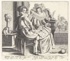 Cornelis van Kittensteyn | Gustus / De Smaak, Cornelis van Kittensteyn, Dirck Hals, Claes Jansz. Visscher (II), 1620 - 1652 | Op een bordes - met uitzicht op een tuin - zit een elegant paar, gekleed in de mode van ca. 1625-'30. De dame heeft een glas in de linkerhand en draagt een japon met een zeer brede molensteenkraag. Voor het paar ligt een meloen op de grond en bij de fontein zit een aap die een vrucht bij zijn snuit houdt. Onder de afbeelding twee kolommen met Latijnse tekst. De prent…