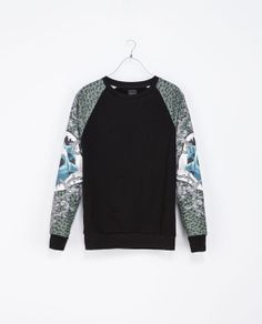 ZARA - MAN - SWEATSHIRT WITH PRINTED SLEEVES