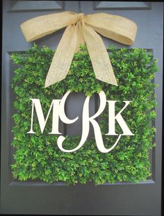 Square Boxwood Monogram Wreath with Burlap Bow by ElegantWreath, $130.00