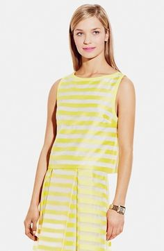 Vince Camuto Contrast Trim Stripe Crop Shell #yellow