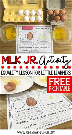 FREE Martin Luther King Jr. activities to teach your Kindergarten students about equality!  This MLK Jr. egg activity provides a great visual of being different on the outside but the same on the inside!  It's the perfect Martin Luther King Jr. printable for kids! via @onesharpbunch