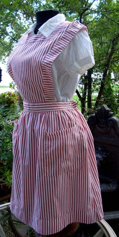 70s VINTAGE CANDY STRIPER VOLUNTEER UNIFORM NURSE DRESS AUTHENTIC JUMPER MAD MEN #Medline