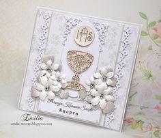 Kartka komunijna z dodatkiem srebra/Pierwsza Komunia Święta/Holy Communion