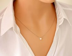 Perfect Pearl Necklace - small white freshwater pearl necklace, single pearl necklace, 14k gold filled or sterling silver chain