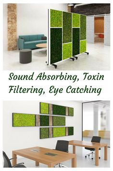 These mobile dividers provide sound absorbing, toxin filtering with the preserved moss art .they are beautiful to boot! We believe plant painting is the coolest stuff ever! Open Concept Office, Open Office Design, Office Dividers, Office Partitions, Moss Paint, Vertical Green Wall, Fleur Design, Moss Wall Art, Sound Absorbing