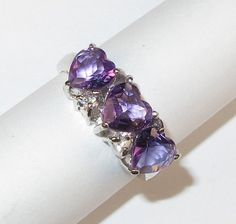 Silver ring with white gold finish Natural amethyst and zirconium 128$