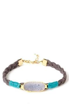 """A drusy quartz crystal in a gold plated setting lays along a braided suede cord, secured with woven cotton thread. Gold filled chain makes this style adjustable, ranging from 6"""" to 7"""" around."""