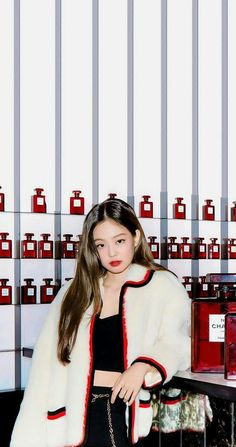 BlackPink Jennie Red Wallpaper HD lock screen for the iPhone