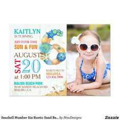 Seashell Number Six Rustic Sand Beach Birthday 5x7 Paper Invitation Card