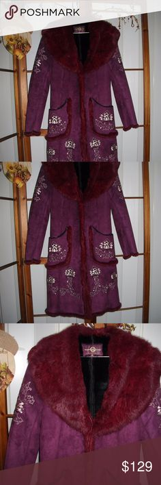 """Wilson's Suede Leather Fur Coat Embellished Plum STUNNINING! Unique Wilson's Leather Suede with Rabbit Fur Trim.  Embellished stitching with sequins. Large pockets on the front and hook front closure.  Size Medium.  Very Unique Beautiful Coat!.  Coat Lining is 100% Polyester.  Measures 40"""" long and 20"""" across the chest.. Pre-Owned but Like New.  Thanks for Looking! Wilson's Leather Jackets & Coats"""