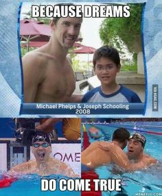 Joseph Schooling beats Michael Phelps in butterfly and wins Singapore's first ever Olympic gold. - Home: Living color Swimming Funny, Swimming Memes, I Love Swimming, Swimming Sport, Swimming Diving, Scuba Diving, Swim Team Quotes, Swimmer Quotes, Olympic Gymnastics