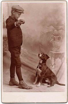 Vintage Studio Portrait: A young boy with his well-trained Pitbull. Vintage Pictures, Old Pictures, Animal Pictures, Dogs And Kids, I Love Dogs, Nanny Dog, Photos With Dog, Me And My Dog, Vintage Dog