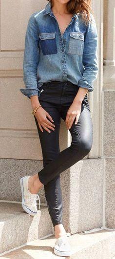 Chambray & Slick Skinny Jeans ♥