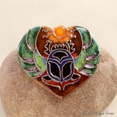 Scarab beetle necklace egypt scarab pendant sun by Tsikorskaya