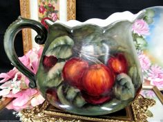 LIMOGES FRANCE HANDPAINTED ARTIST SIGNED PITCHER PAINTED APPLES PATTERN in Antiques, Decorative Arts, Ceramics & Porcelain, Pitchers | eBay