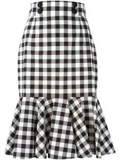 Black and white cotton check ruffle skirt from Dolce & Gabbana featuring a high waist, a front button fastening, a rear zip fastening and a ruffled hem. by farfetch Ruffle Skirt, Dress Skirt, Frilly Skirt, Pleated Skirts, Cotton Skirt, Sheath Dress, Waist Skirt, Modest Fashion, Fashion Dresses