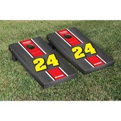 NASCAR Jeff Gordon #24 Cornhole Game Set Onyx Stained Stripe Version from TailgateGiant.com