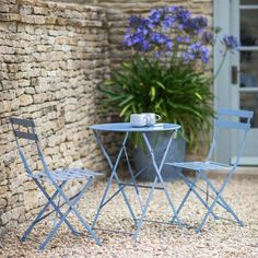 Rives Bistro Table Set with 2 Chairs - Dorset Blue - Garden Furniture - Furniture - Furniture Garden Seating, Garden Chairs, Small Garden Table And Chairs, Table And Chair Sets, Garden Beds, A Table, Outdoor Tables And Chairs, Outdoor Furniture Sets, Patio Tables
