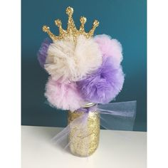 Sophia the First Inspired Gold Glitter Tulle Pom Pom Princess Centerpiece! - Customize your Colors! by TheEnchantedPrincess on Etsy https://www.etsy.com/listing/223011052/sophia-the-first-inspired-gold-glitter