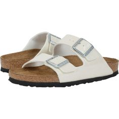 Birkenstock Arizona Soft Footbed (Magic Galaxy White Birko-Flor )... (80 CAD) ❤ liked on Polyvore featuring shoes, sandals, white, evening sandals, special occasion sandals, lightweight shoes, arch support shoes and white shoes