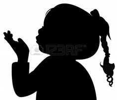 Illustration of a child blowing out, silhouette vector art, clipart and stock vectors.