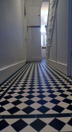 victroian hallway mosaic tile design Mosaic Tile Designs, Mosaic Tiles, Black And White Hallway, Tamworth, Stair Landing, London Garden, Coach House, Hallway Ideas, Hallways