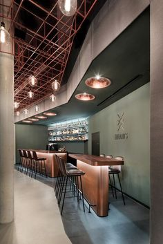 bar lifestyle interior design industrial floor cooper barstools Bar Eduard s by DIA Dittel Architekten Industrial Flooring, Industrial Interior Design, Industrial Interiors, Cafe Interior, Modern Interior Design, Industrial Shelving, Industrial Office, Industrial Lighting, Industrial Chic