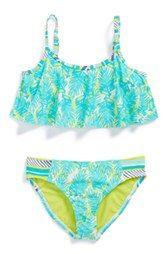 Roxy Palm Print Two-Piece Flutter Swimsuit (Toddler Girls, Little Girls & Big Girls)