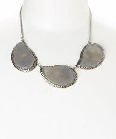 Silver & Gray Stone Swirl Bib Necklace #zulily #zulilyfinds