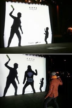 """This silhouette mural was found in South Korea. The text reads """"child abuse, you can prevent it,"""" and when someone adds their shadow to the mural: """"Report to become a hero for children."""""""