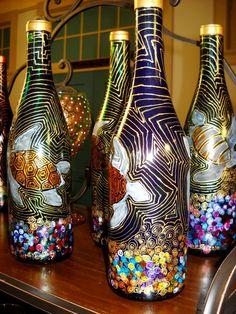 Unique Bottle Art hand painted Vase Painted by skyspirit8studios, $75.00