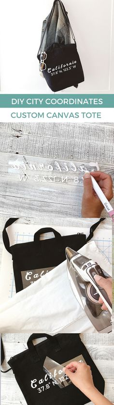Easy DIY tote! White font on black canvas tote makes the text pop!