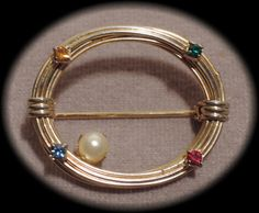 Gold Tone Open Oval Pin with Coloured by thejeweledbear on Etsy, $8.00