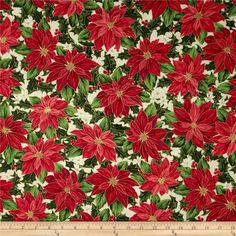 Christmas Star Metallic Packed Poinsettias Cream from @fabricdotcom  Designed by Kensington Studio for Quilting Treasures, this fabric is perfect for quilting, apparel and home decor accents. Colors include red, green, white and cream with metallic gold accents throughout.