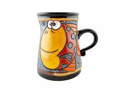 Fischen Sie Keramik Becher Keramik und Töpferei von GappaPottery Slab Pottery, Pottery Mugs, Pottery Ideas, Pottery Sculpture, Sculpture Art, Funny Cups, Animal Mugs, Hand Painted Mugs, Ceramic Clay