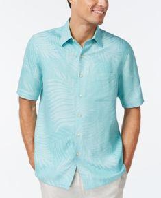 Tasso Elba Linen Leaf Jacquard Short-Sleeve Shirt, Only at Macy's - Blue XXL