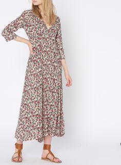 13594dca3b407 Robe longue col v imprimée en crêpe beige stella forest - femme