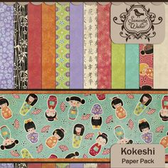 Kokeshi digi paper kit available at jessicasprague.com