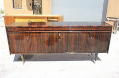 FRENCH ART DECO EXOTIC MACASSAR EBONY BUFFET/ SIDEBOARD, circa 1940's