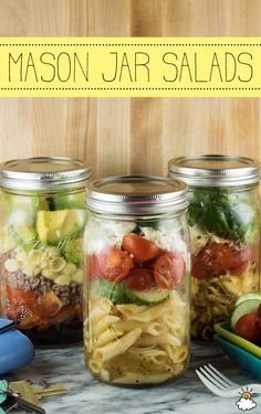 These easy DIY mason jar pasta salads are the perfect meal for anyone on the go! Give a quick shake and you're ready to dig into one of your favorite pasta salad recipes.