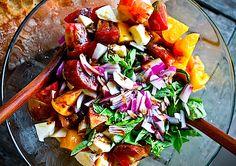 Rough Caprese Salad  heirloom tomatoes, basil, red onion, fresh mozzarella, drizzle good quality olive oil, drizzle good quality balsamic vinegar, sprinkle of salt & pepper