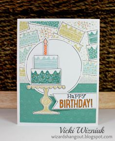 Random stamped birthday card using CTMH Wise Guy Birthday stamp set.  by Vicki Wizniuk
