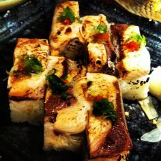Ajisai's best dish: pressed hamachi sushi. For those that don't mind mackerel, the pressed Saba sushi is also delicious.