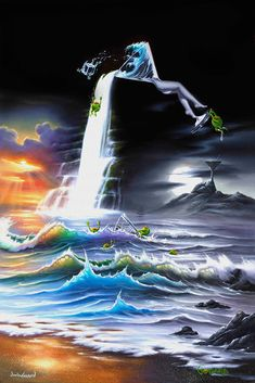 Happy Hours (Warren/Godard) * Artist Jim Warren & Michael Godard Fantasy Myth Mythical Mystical Legend Elf Elves Dragon Dragons Fairy Fae Wings Fairies Mermaids Mermaid Siren Dragon Dragons Siren Sword Sorcery Magic Witch Wizard Whimsy Valkyrie Humor Funny Cute Hidden Surreal
