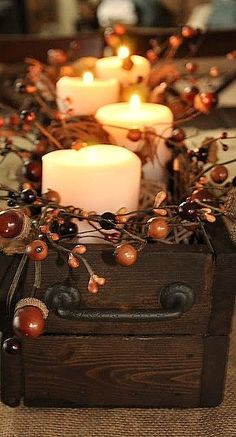 DIY Fall Centerpiece: Acorn/berry garland surrounding candles in a cute box sitting on burlap! Thanksgiving Decorations, Seasonal Decor, Christmas Decorations, Thanksgiving Table, Halloween Decorations, Wedding Decorations, Fall Home Decor, Autumn Home, Diy Autumn