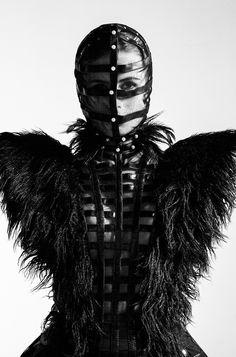 Sculptural Fashion - cage dress & mask; dark fashion // Lu Wenxin & Shi Shuang