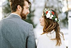 Romantic Winter Elopement in snowy Vermont via Magnolia Rouge