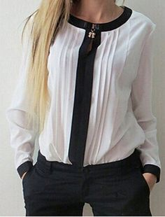 Stylish Round Collar Long Sleeve Color Block Ruffled Blouse For Women