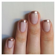 Nails Always Polished Rose Gold French Manicure ❤ liked on Polyvore featuring beauty products, nail care and nails