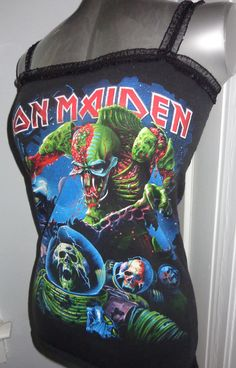 Iron Maiden ladies heavy metal band shirt tank top DIY Handmade into a… Heavy Metal Girl, Heavy Metal Bands, Band Merch, Band Shirts, Metal Shirts, Best Rock Bands, Band Outfits, Rocker Style